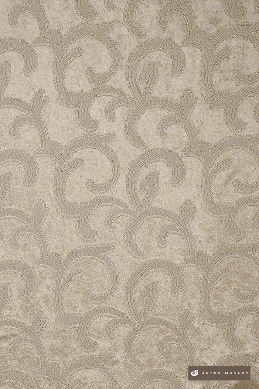 James Dunlop Salerno - Fawn  | Curtain Fabric - Silver, Art Noveau, Craftsman, Deco, Decorative, Fibre Blends, Transitional, Velvet/Faux Velvet, Domestic Use, Dry Clean