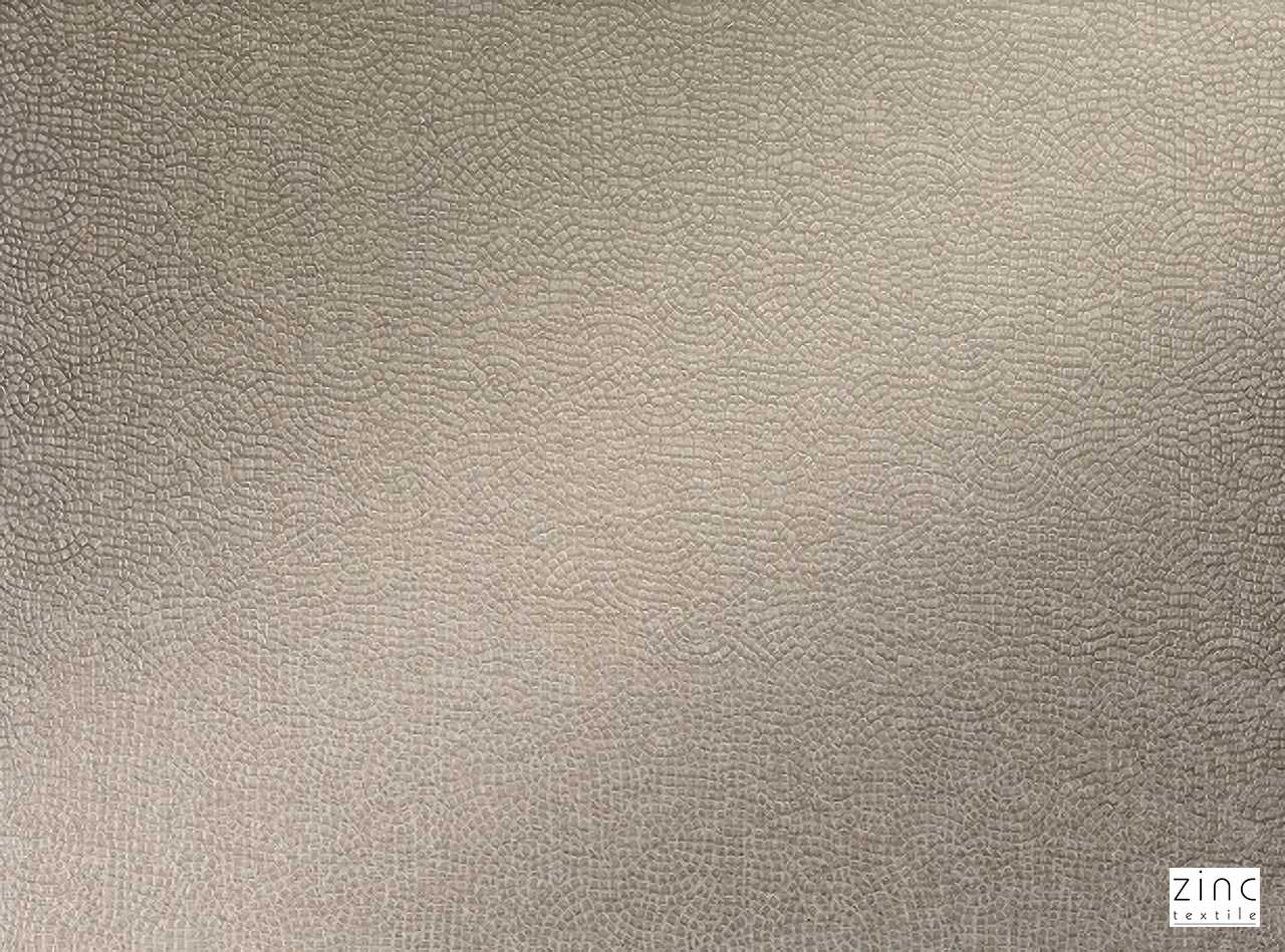 Zinc Textile - Miralles Truffle    Curtain & Upholstery fabric - Beige, Pattern, Synthetic, Velvet/Faux Velvet, Commercial Use, Dry Clean, Print, Standard Width