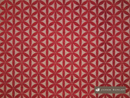 James Dunlop Tapa - Berry  | Upholstery Fabric - Fire Retardant, Red, Diaper, Geometric, Midcentury, Natural Fibre, Washable, Commercial Use, Dry Clean, Lattice, Trellis