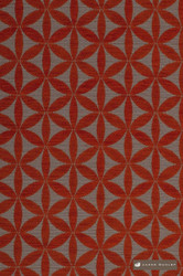 James Dunlop Tapa - Tangelo  | Upholstery Fabric - Fire Retardant, Red, Diaper, Geometric, Midcentury, Natural Fibre, Washable, Commercial Use, Dry Clean, Lattice, Trellis
