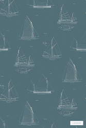 Linwood LW032 1 Finisterre    Wallpaper, Wallcovering - Blue, Beach, Kids, Children, Midcentury, Domestic Use, Nautical