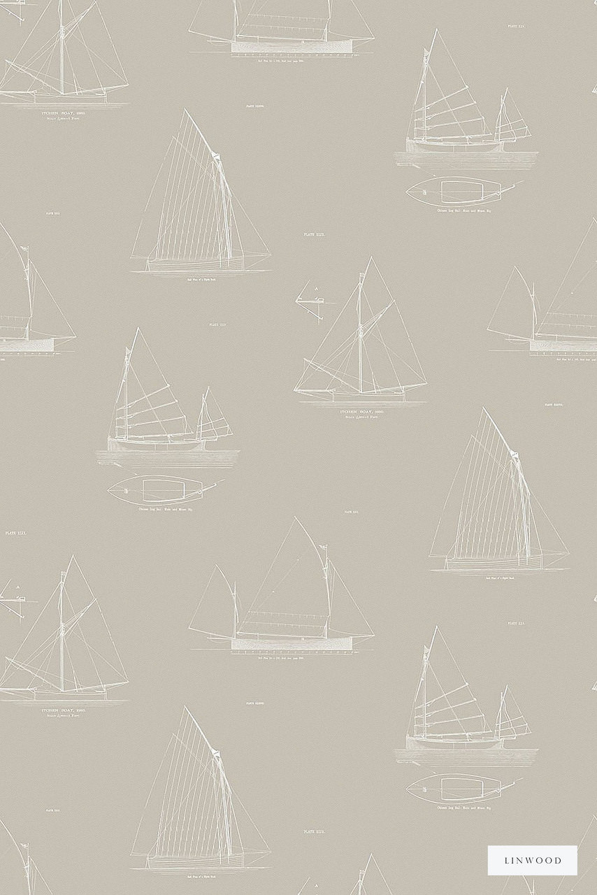 Linwood LW032 3 Cromarty    Wallpaper, Wallcovering - Beige, Midcentury, Domestic Use, Print, Nautical