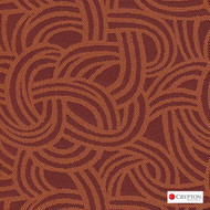 Crypton Route Orange  | Upholstery Fabric - Terracotta, Midcentury, Pattern, Synthetic, Commercial Use, Standard Width
