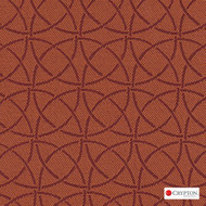Crypton Trivia Tangerine  | Upholstery Fabric - Asian, Circlelink, Midcentury, Synthetic, Chinoise, Commercial Use, Standard Width