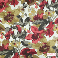 Wortley Group Chelsea Poppy  | Upholstery Fabric - Red, Contemporary, Floral, Garden, Natural Fibre, Domestic Use, Natural, Standard Width