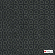 Crypton Dew Raven  | Upholstery Fabric - Black - Charcoal, Diaper, Foulard, Geometric, Midcentury, Small Scale, Synthetic, Commercial Use, Standard Width