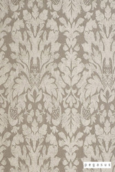 Pegasus Castello - Ash  | Curtain Fabric - Brown, Fire Retardant, Damask, Deco, Decorative, Fibre Blends, Traditional, Commercial Use, Domestic Use, Dry Clean, Standard Width