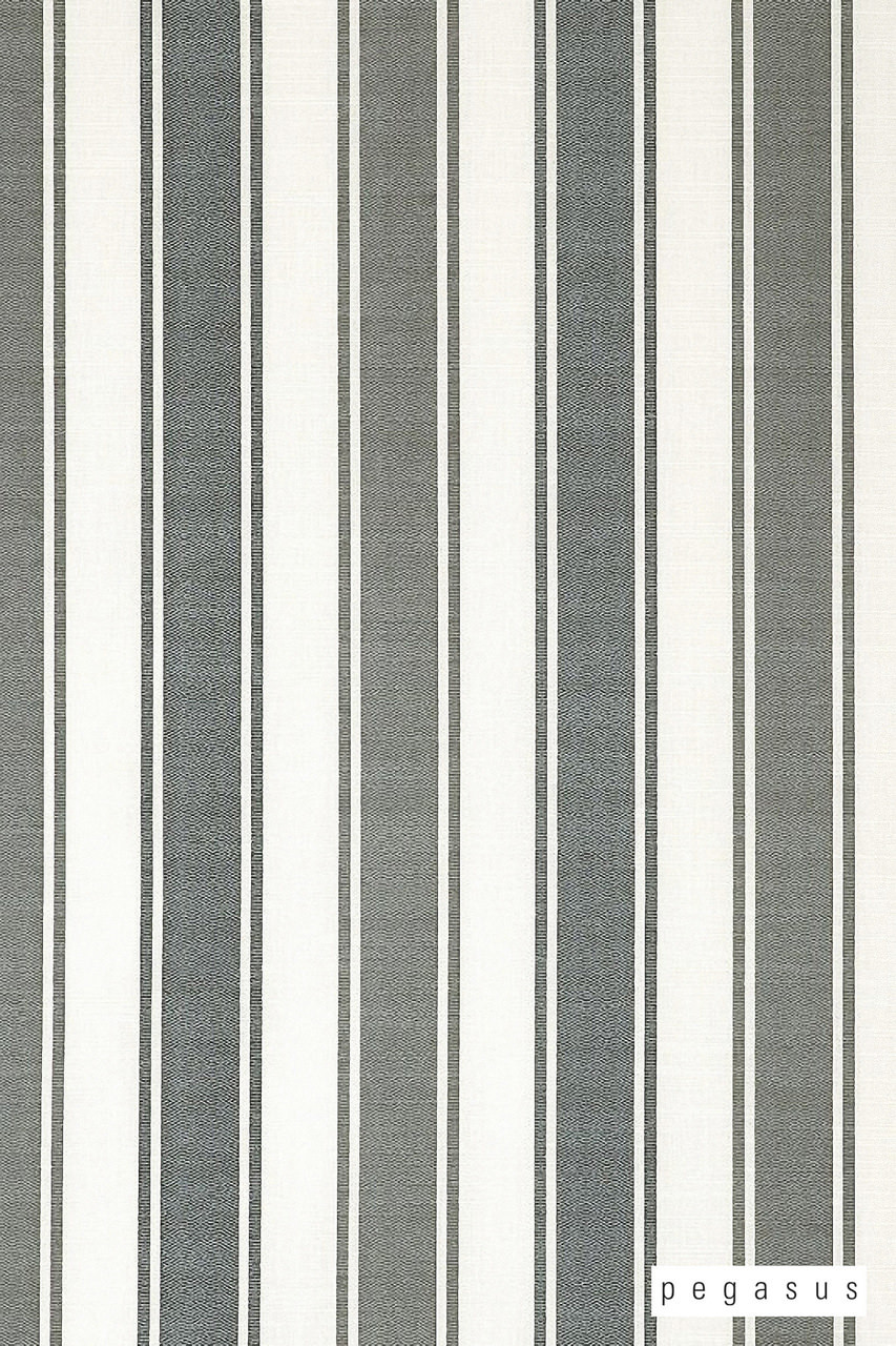 Pegasus Madrid UC - Charcoal  | Curtain Fabric - Grey, Natural Fibre, Stripe, Traditional, Washable, Domestic Use, Dry Clean, Natural, Standard Width