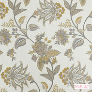 Wortley Group Canterbury Desert Rose  | Upholstery Fabric - Gold,  Yellow, Grey, Fibre Blends, Floral, Garden, Jacobean, Traditional, Transitional, Domestic Use
