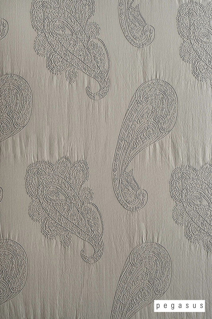 Pegasus Adelaide - Moonstone  | Curtain Fabric - Grey, Deco, Decorative, Fibre Blends, Paisley, Taffeta, Transitional, Washable, Domestic Use, Dry Clean, Standard Width