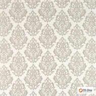 Fr One Fabrics - Palmieri Fr Greige  | Curtain & Upholstery fabric - Fire Retardant, Grey, Damask, Synthetic, Commercial Use, Oeko-Tex,  Standard Width
