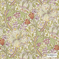 Morris and Co - Golden Lily 210399  | Wallpaper, Wallcovering - Brown, Art Noveau, Craftsman, Floral, Garden, Pink, Purple, Tropical, Domestic Use