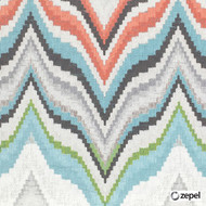 Zepel Fabrics - Flame Print Aqua  | Curtain & Upholstery fabric - Blue, Geometric, Natural Fibre, Chevron, Zig Zag, Commercial Use, Domestic Use, Natural, Oeko-Tex