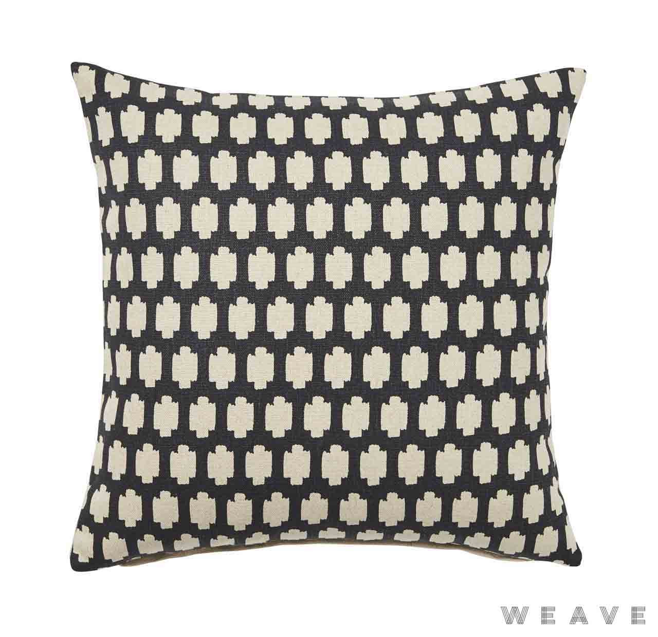 Weave - Madi Cushion - Tar (Pack of 2)  | Cushion Fabric - Black - Charcoal, Quatrefoil, Weave, Crosses