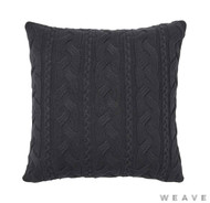 Weave - Miramar Cushion - Tar (Pack of 2)  | Cushion Fabric - Black - Charcoal, Stripe, Weave