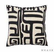 Weave - Lesotho Cushion - Tar (Pack of 2)  | Cushion Fabric - Black - Charcoal, Contemporary, Weave
