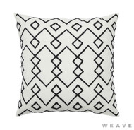 Weave - Malawi Cushion - Tar (Pack of 2)  | Cushion Fabric - White, Black - Charcoal, Weave, Diamond - Harlequin, White