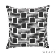 Weave - Burundi Cushion - Tar (Pack of 2)  | Cushion Fabric - Black - Charcoal, Geometric, Weave