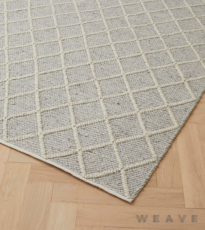 Weave - Mitre Rug - Feather    Rug Fabric - Beige, Grey, Weave