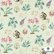 Sanderson Capuchins 223271  | Curtain & Upholstery fabric - Fibre Blends, Floral, Garden, Pink, Purple, Animals, Animals - Fauna, Domestic Use, Standard Width, Birds, Monkeys