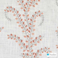 Duralee - 32870-31 - Coral  | Curtain & Upholstery fabric - Fire Retardant, Floral, Garden, Linen and Linen Look, Natural Fibre, Dry Clean, Embroidery, Natural, Standard Width