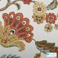 Duralee - 42154-346 - Sundance  | Upholstery Fabric - Brown, Red, Floral, Garden, Natural Fibre, Dry Clean, Natural, Standard Width
