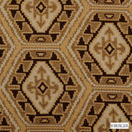 B. Berger - 71066-711 - Black/Gold  | Upholstery Fabric - Brown, Gold,  Yellow, Honeycomb, Medallion, Synthetic, Dry Clean