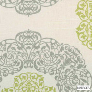 B. Berger - 72080-20 - Natural/Green  | Curtain & Upholstery fabric - Grey, Silver, Geometric, Medallion, Natural Fibre