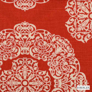 B. Berger - 72080-30 - Natural/Russett  | Curtain & Upholstery fabric - Burgundy, Red, Geometric, Medallion, Natural Fibre, Dry Clean, Natural, Print, Standard Width