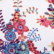 B. Berger - 72081-224 - Berry  | Curtain & Upholstery fabric - Burgundy, Red, Silver, Floral, Garden, Natural Fibre, Print