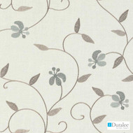 Duralee - 73035-680 - Aqua/Cocoa  | Curtain Fabric - Beige, Blue, Fire Retardant, Silver, Fibre Blends, Floral, Garden, Linen and Linen Look, Tan, Taupe, Turquoise, Teal