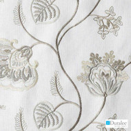 Duralee - Da61361-84 - Ivory  | Curtain & Upholstery fabric - Grey, White, Fibre Blends, Floral, Garden, Jacobean, White