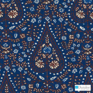 Duralee - De42511-193 - Indigo  | Curtain & Upholstery fabric - Blue, Floral, Garden, Natural Fibre, Paisley, Dry Clean, Natural, Print, Standard Width