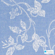 Duralee - De42515-157 - Chambray  | Curtain & Upholstery fabric - Blue, Floral, Garden, Linen and Linen Look, Natural Fibre, Dry Clean, Natural, Print, Standard Width
