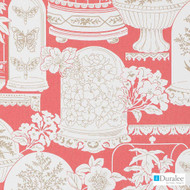 Duralee - Dp42634-122 - Blossom  | Upholstery Fabric - Red, Floral, Garden, Midcentury, Natural Fibre, Animals, Animals - Fauna, Domestic Use, Dry Clean, Natural, Print, Birds