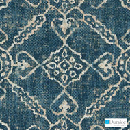 Duralee - Dp42647-5 - Blue  | Upholstery Fabric - Blue, Ikat, Medallion, Mediterranean, Natural Fibre, Diamond - Harlequin, Domestic Use, Dry Clean, Natural, Print