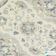 Duralee - Du16077-50 - Natural/Blue  | Upholstery Fabric - Beige, Silver, Medallion, Mediterranean, Suzani, Synthetic