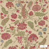 Zoffany Kalamkari 321698  | Curtain & Upholstery fabric - Red, Fibre Blends, Floral, Garden, Jacobean, Traditional, Domestic Use, Standard Width