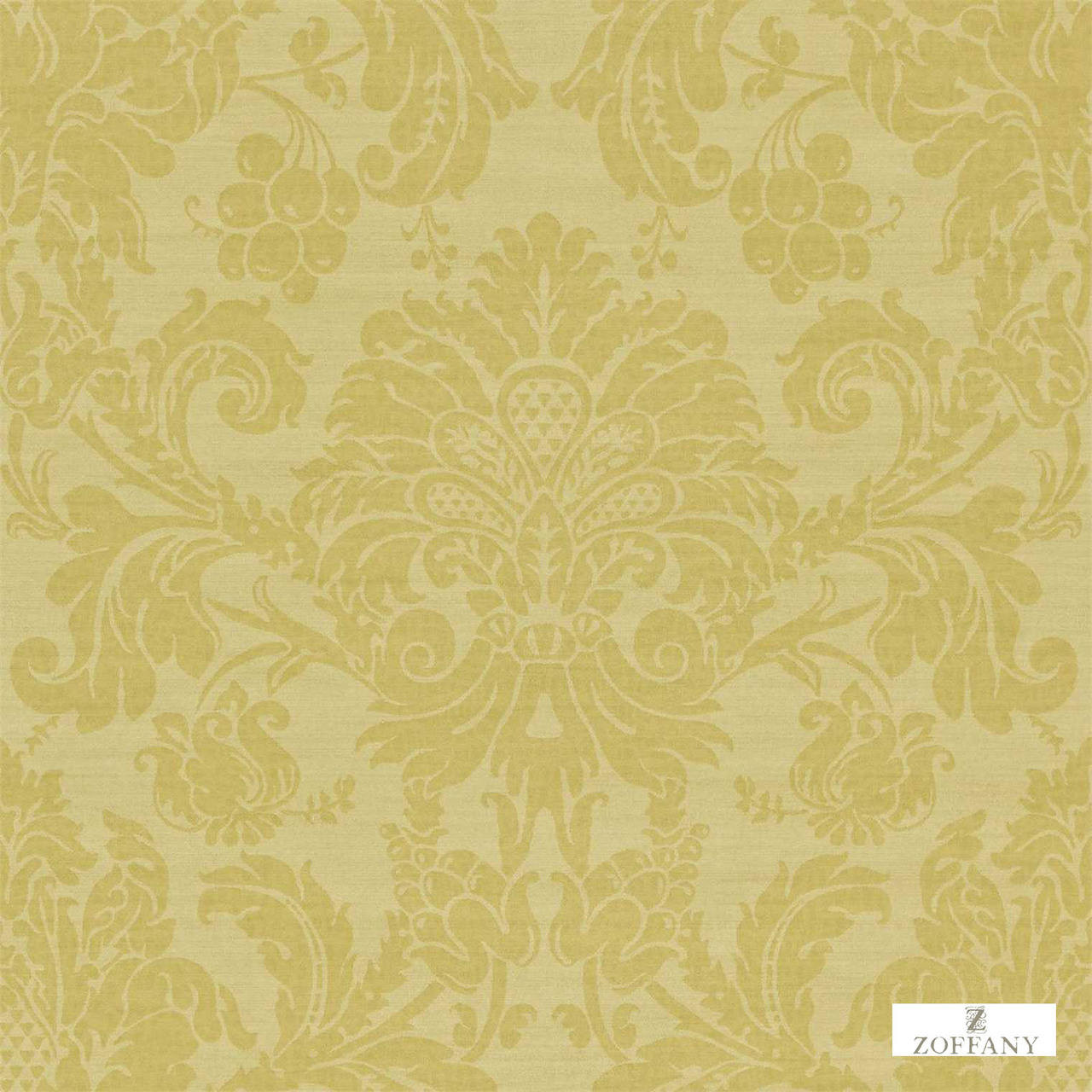Zoffany Crivelli ZCDW02011  | Wallpaper, Wallcovering - Gold,  Yellow, Damask, Traditional, Commercial Use, Domestic Use