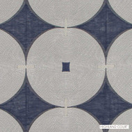 Highland Court - Hr61733-193 - Compass - Indigo  | Curtain Fabric - Blue, Fire Retardant, Fibre Blends, Linen and Linen Look, Silk, Dots, Spots, Dry Clean, Embroidery, Circles