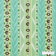 Bailey Griffin - 200008H-250 - Mahe - Sea Green | Upholstery Fabric - Linen/Linen Look, Green, Turquoise, Teal, Floral, Garden, Botantical, Stripe