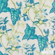 Bailey Griffin - 200013H-72 - Puccini - Blue/Green  | Curtain & Upholstery fabric - Blue, Floral, Garden, Linen and Linen Look, Natural Fibre, Turquoise, Teal, Dry Clean, Food