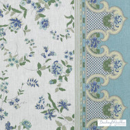 Bailey Griffin - 200015H-246 - Canton Rose - Aegean  | Curtain & Upholstery fabric - Blue, Floral, Garden, Linen and Linen Look, Natural Fibre, Pink, Purple, Stripe, Print