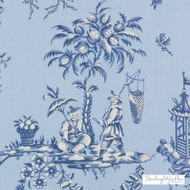 Bailey Griffin - 200016H-197 - Scene Chinoise - Marine  | Curtain & Upholstery fabric - Blue, Asian, Natural Fibre, Toile, Chinoise, Dry Clean, Natural, Print, Food