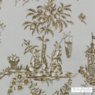 Bailey Griffin - 200016H-606 - Scene Chinoise - Linen/Charcoal | Curtain & Upholstery fabric - Tan, Taupe, Asian, Dry Clean, Chinoiserie, Chinoise