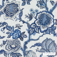 Bailey Griffin - 200018H-197 - Dumas - Marine | Curtain & Upholstery fabric - Linen/Linen Look, Blue, Floral, Garden, Botantical, Traditional, Print