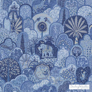 Bailey Griffin - 200021H-197 - Menagerie - Marine | Curtain & Upholstery fabric - Linen/Linen Look, Blue, Cats, Floral, Garden, Botantical, Asian