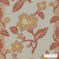 Bailey Griffin - 200022H-31 - La Grenade - Coral | Curtain & Upholstery fabric - Linen/Linen Look, Terracotta, Floral, Garden, Botantical, Stripe