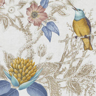 Bailey Griffin - Be42518-41 - Birds Of Eden - Blue/Turquoise | Curtain & Upholstery fabric - Blue, Gold, Yellow, Orange, Turquoise, Teal, Birds