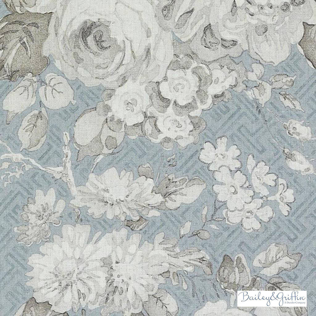 Bailey Griffin - Be42520-619 - Albrighton - Seaglass   Curtain & Upholstery fabric - Linen/Linen Look, Turquoise, Teal, Floral, Garden, Botantical